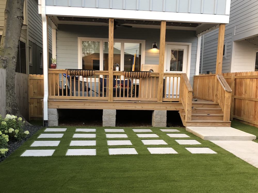 synthetic grass in backyard